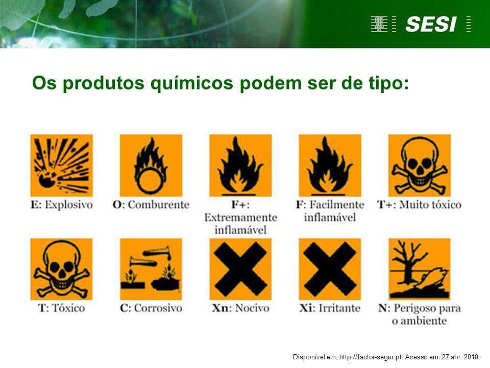 Os produtos químicos podem ser de tipo: Disponível em: http://factor-segur.pt. Acesso em: 27 abr. 2010.