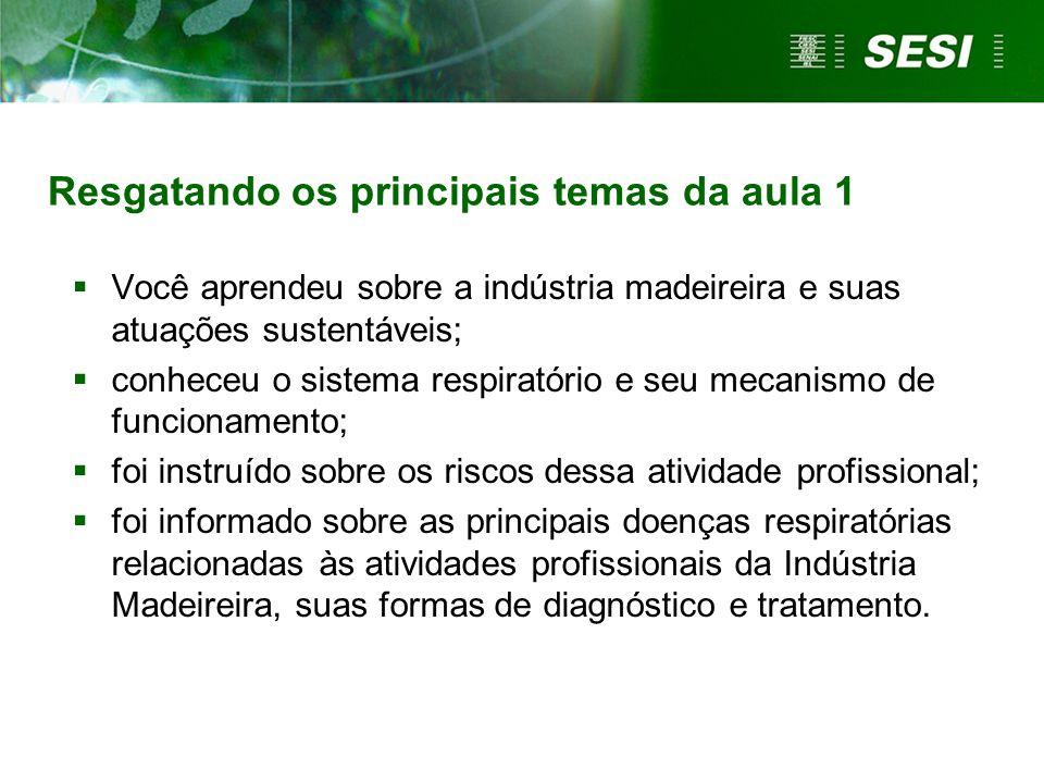 Resgatando os principais temas da aula 1 Você aprendeu sobre a indústria madeireira e suas atuações sustentáveis; conheceu o sistema respiratório e se