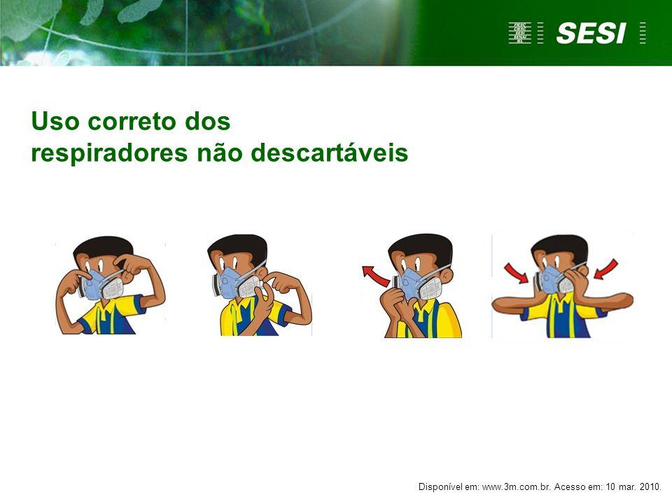 Uso correto dos respiradores não descartáveis Disponível em: www.3m.com.br. Acesso em: 10 mar. 2010.