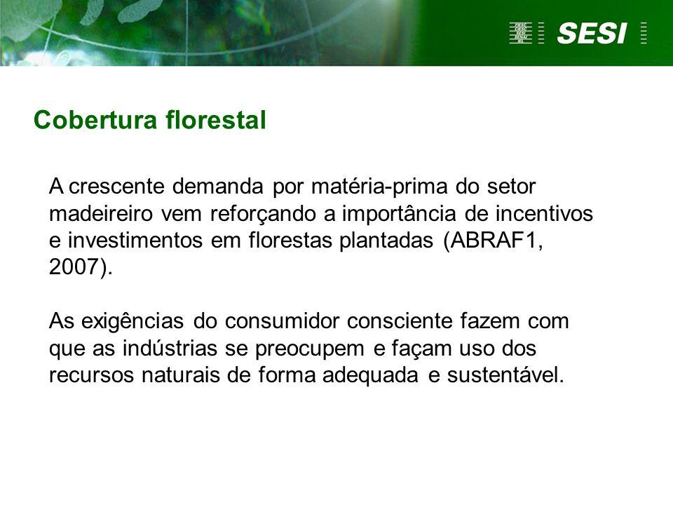 Cobertura florestal A crescente demanda por matéria-prima do setor madeireiro vem reforçando a importância de incentivos e investimentos em florestas