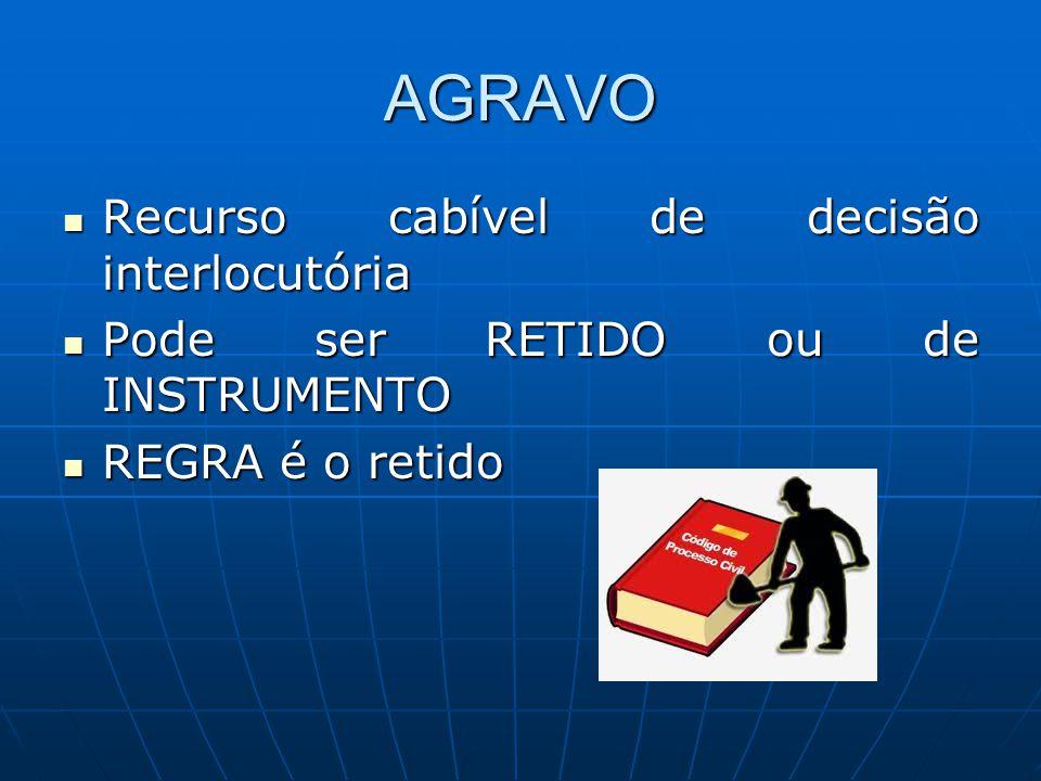 AGRAVO Recurso cabível de decisão interlocutória Recurso cabível de decisão interlocutória Pode ser RETIDO ou de INSTRUMENTO Pode ser RETIDO ou de INS