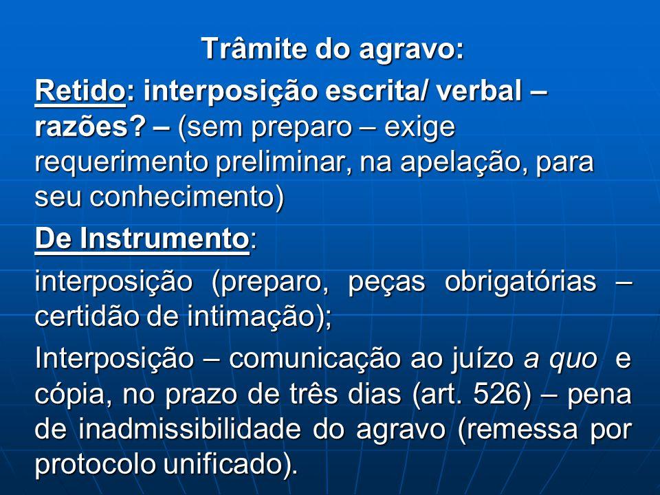 Trâmite do agravo: Retido: interposição escrita/ verbal – razões? – (sem preparo – exige requerimento preliminar, na apelação, para seu conhecimento)