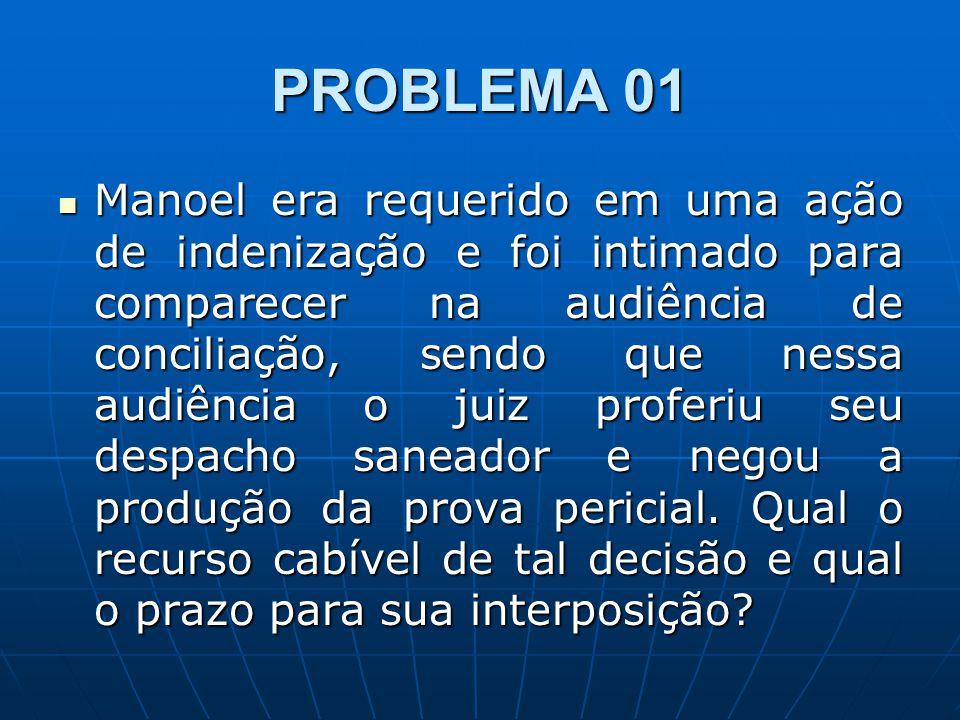 PROBLEMA 01 Manoel era requerido em uma ação de indenização e foi intimado para comparecer na audiência de conciliação, sendo que nessa audiência o ju