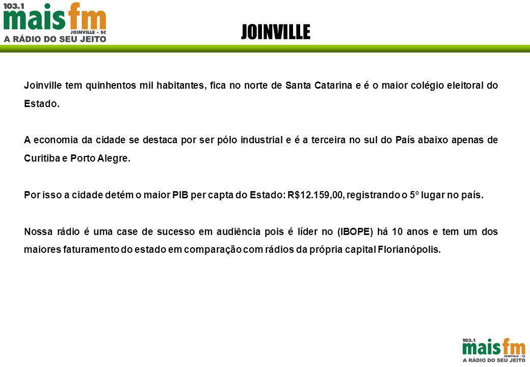 JOINVILLE Joinville tem quinhentos mil habitantes, fica no norte de Santa Catarina e é o maior colégio eleitoral do Estado.