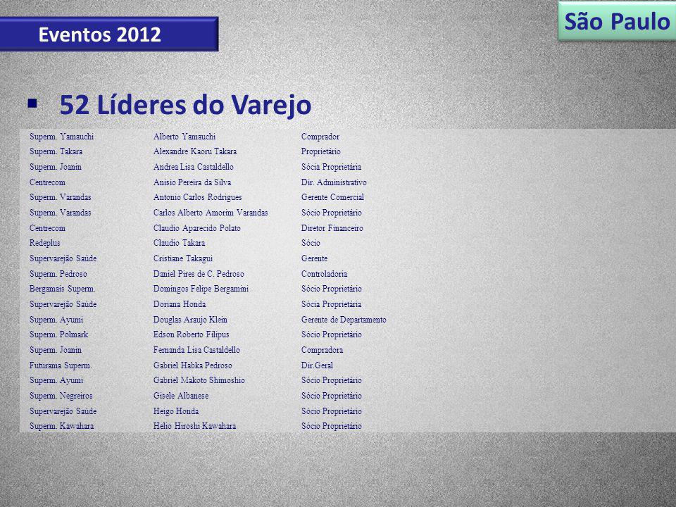 São Paulo Eventos 2012 52 Líderes do Varejo Superm. YamauchiAlberto YamauchiComprador Superm. TakaraAlexandre Kaoru TakaraProprietário Superm. JoaninA