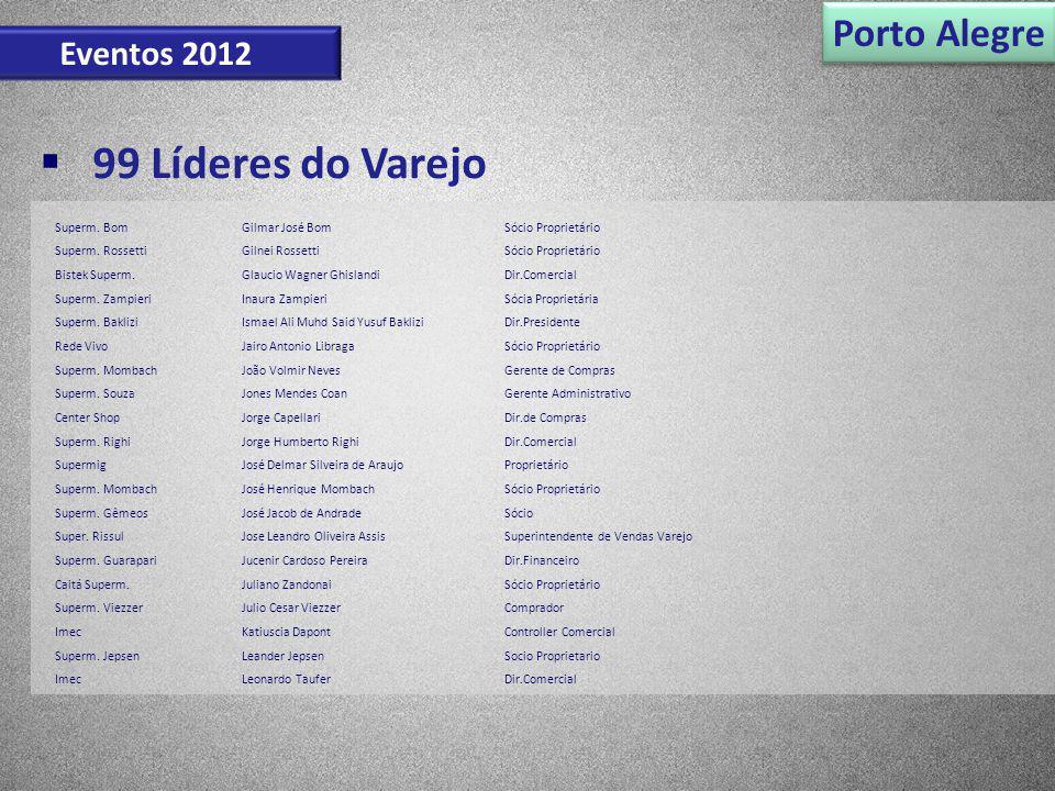 99 Líderes do Varejo Porto Alegre Eventos 2012 Superm. BomGilmar José BomSócio Proprietário Superm. RossettiGilnei RossettiSócio Proprietário Bistek S