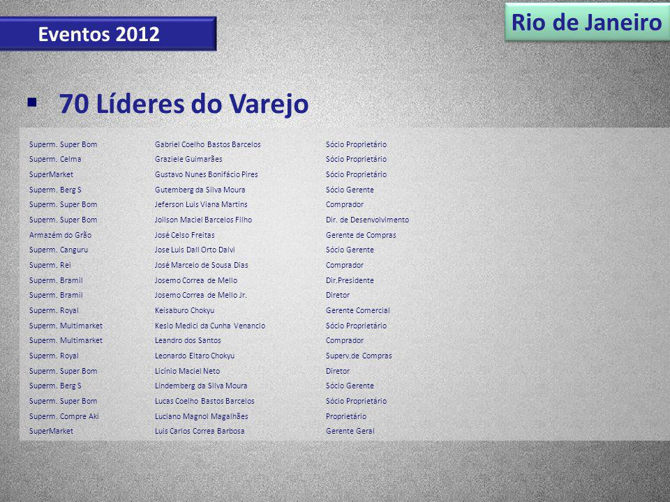 Rio de Janeiro Eventos 2012 70 Líderes do Varejo Superm. Super BomGabriel Coelho Bastos BarcelosSócio Proprietário Superm. CelmaGraziele GuimarãesSóci