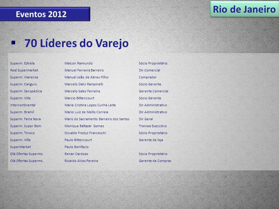 Rio de Janeiro Eventos 2012 70 Líderes do Varejo Superm. EstrelaMaicon RaimundoSócio Proprietário Real SupermarketManuel Ferreira BarreiroDir.Comercia