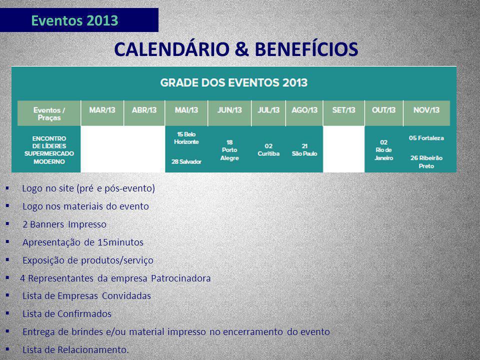Eventos 2013 CALENDÁRIO & BENEFÍCIOS Logo no site (pré e pós-evento) Logo nos materiais do evento 2 Banners Impresso Apresentação de 15minutos Exposiç