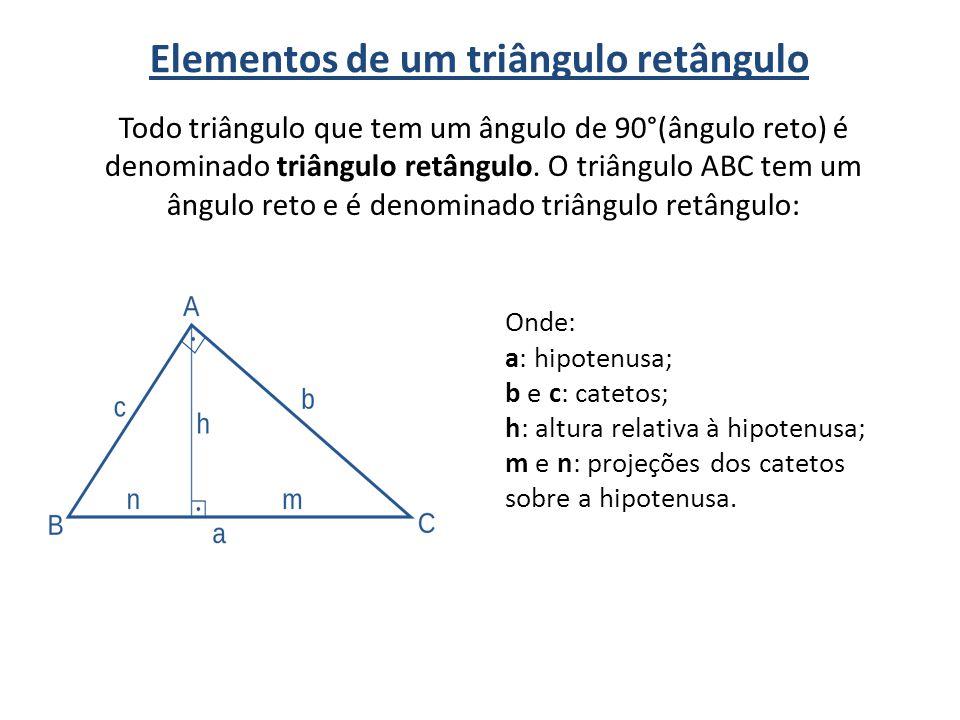 Elementos de um triângulo retângulo Todo triângulo que tem um ângulo de 90°(ângulo reto) é denominado triângulo retângulo. O triângulo ABC tem um ângu