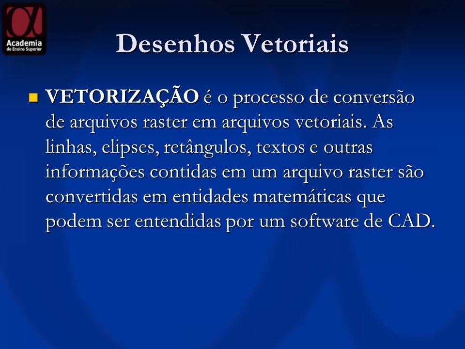 Desenhos Vetoriais VETORIZAÇÃO é o processo de conversão de arquivos raster em arquivos vetoriais. As linhas, elipses, retângulos, textos e outras inf
