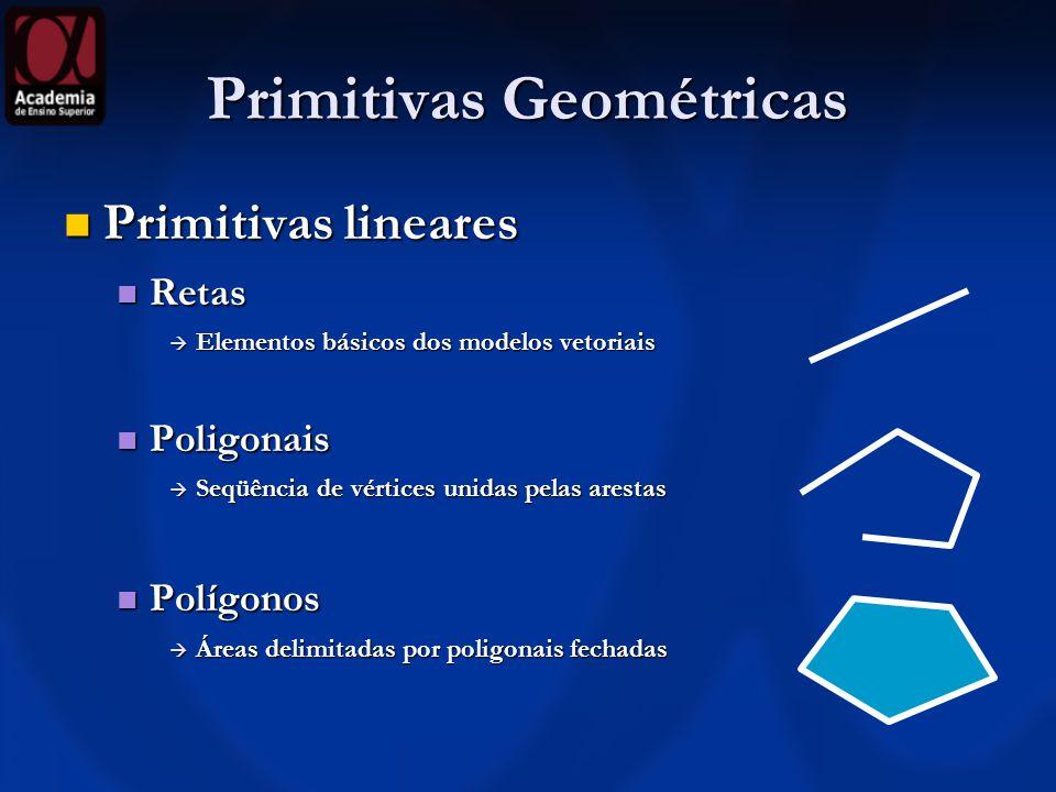 Primitivas Geométricas Primitivas lineares Primitivas lineares Retas Retas Elementos básicos dos modelos vetoriais Elementos básicos dos modelos vetor