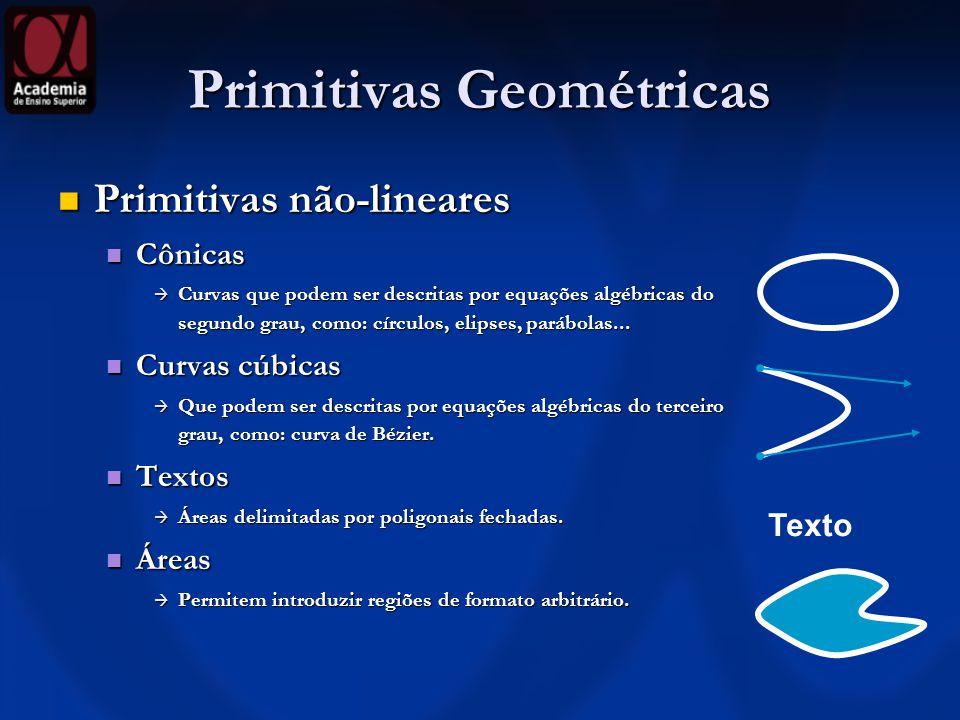 Primitivas Geométricas Primitivas não-lineares Primitivas não-lineares Cônicas Cônicas Curvas que podem ser descritas por equações algébricas do segun