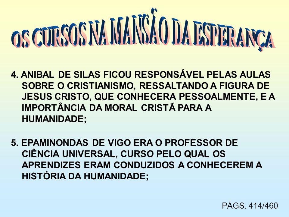 4. ANIBAL DE SILAS FICOU RESPONSÁVEL PELAS AULAS SOBRE O CRISTIANISMO, RESSALTANDO A FIGURA DE JESUS CRISTO, QUE CONHECERA PESSOALMENTE, E A IMPORTÂNC