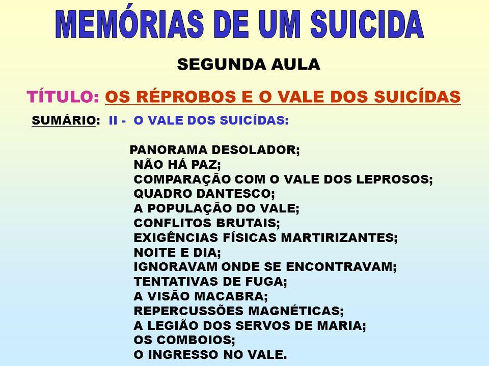 SEGUNDA AULA TÍTULO: OS RÉPROBOS E O VALE DOS SUICÍDAS SUMÁRIO: II - O VALE DOS SUICÍDAS: PANORAMA DESOLADOR; NÃO HÁ PAZ; COMPARAÇÃO COM O VALE DOS LE