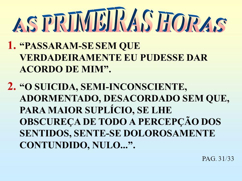 1. PASSARAM-SE SEM QUE VERDADEIRAMENTE EU PUDESSE DAR ACORDO DE MIM. 2. O SUICIDA, SEMI-INCONSCIENTE, ADORMENTADO, DESACORDADO SEM QUE, PARA MAIOR SUP