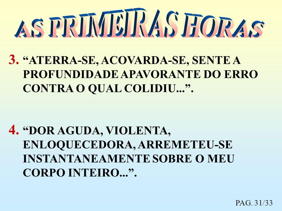 3. ATERRA-SE, ACOVARDA-SE, SENTE A PROFUNDIDADE APAVORANTE DO ERRO CONTRA O QUAL COLIDIU.... 4. DOR AGUDA, VIOLENTA, ENLOQUECEDORA, ARREMETEU-SE INSTA