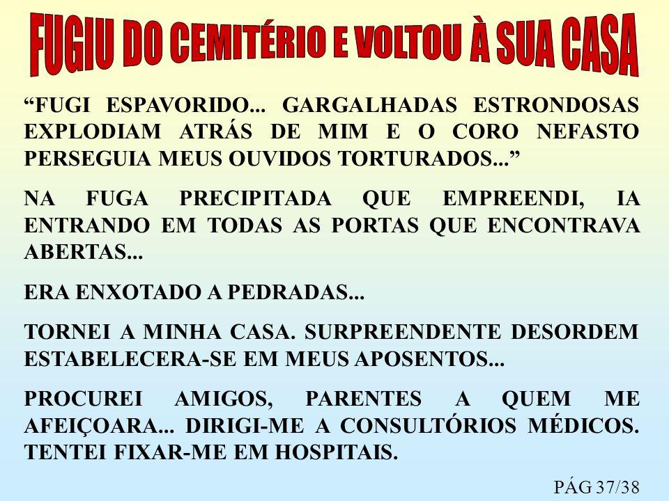 FUGI ESPAVORIDO... GARGALHADAS ESTRONDOSAS EXPLODIAM ATRÁS DE MIM E O CORO NEFASTO PERSEGUIA MEUS OUVIDOS TORTURADOS... NA FUGA PRECIPITADA QUE EMPREE
