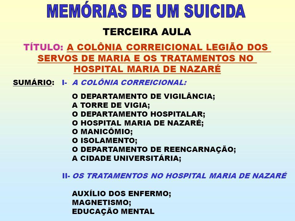 TERCEIRA AULA TÍTULO: A COLÔNIA CORREICIONAL LEGIÃO DOS SERVOS DE MARIA E OS TRATAMENTOS NO HOSPITAL MARIA DE NAZARÉ SUMÁRIO: I-A COLÔNIA CORREICIONAL