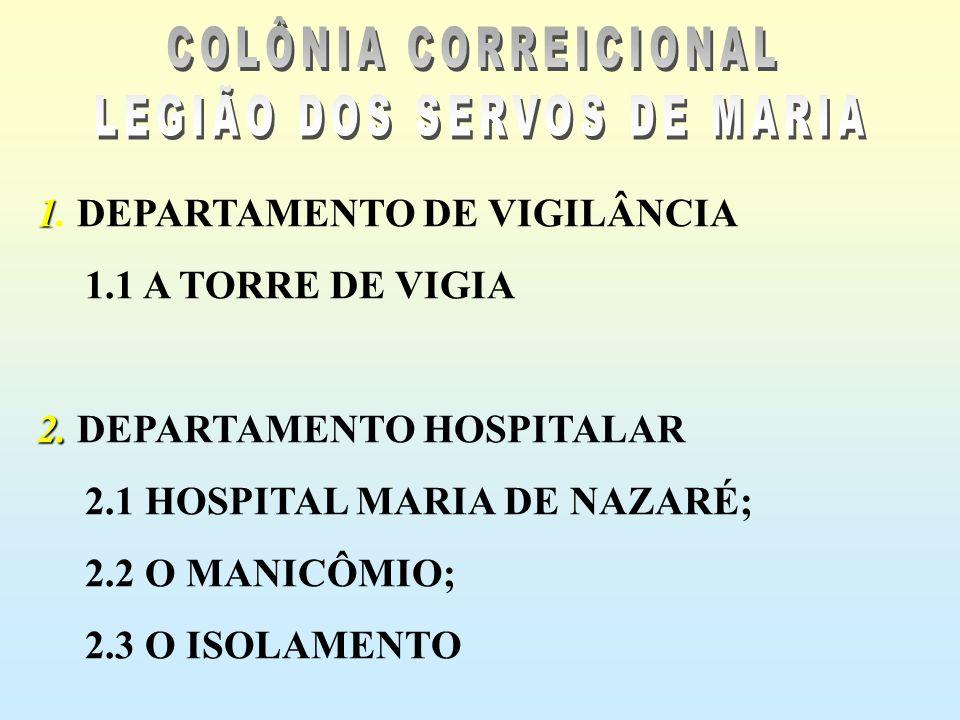 1 1. DEPARTAMENTO DE VIGILÂNCIA 1.1 A TORRE DE VIGIA 2. 2. DEPARTAMENTO HOSPITALAR 2.1 HOSPITAL MARIA DE NAZARÉ; 2.2 O MANICÔMIO; 2.3 O ISOLAMENTO