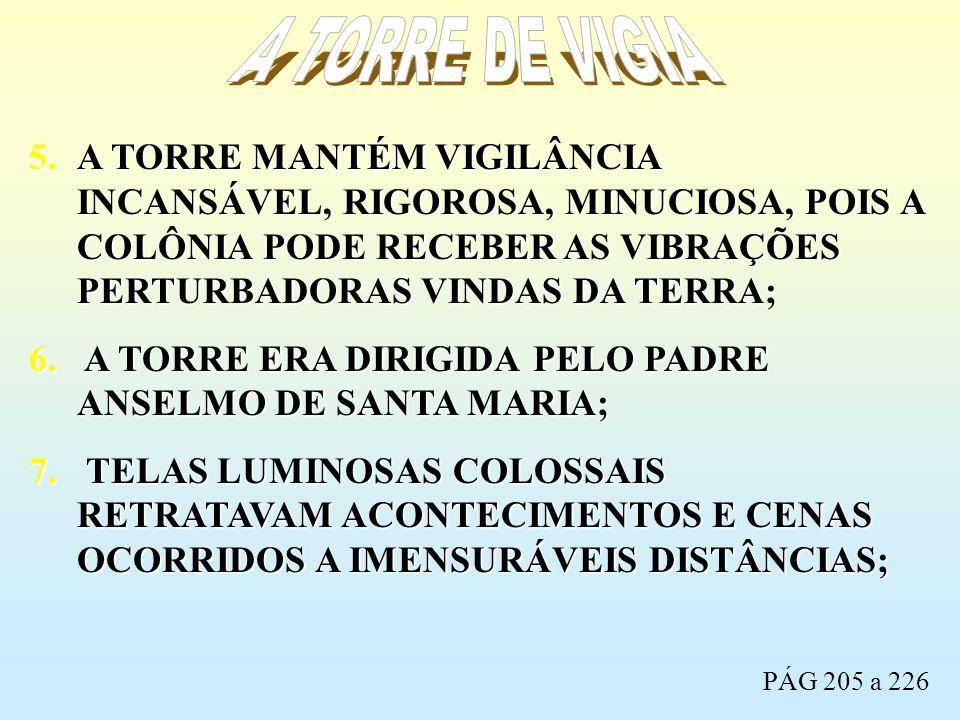 5.A TORRE MANTÉM VIGILÂNCIA INCANSÁVEL, RIGOROSA, MINUCIOSA, POIS A COLÔNIA PODE RECEBER AS VIBRAÇÕES PERTURBADORAS VINDAS DA TERRA; 6. A TORRE ERA DI