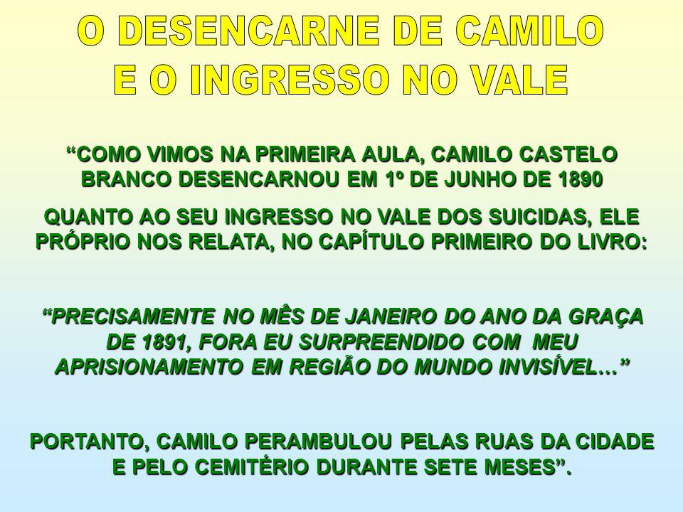 COMO VIMOS NA PRIMEIRA AULA, CAMILO CASTELO BRANCO DESENCARNOU EM 1º DE JUNHO DE 1890 QUANTO AO SEU INGRESSO NO VALE DOS SUICIDAS, ELE PRÓPRIO NOS REL