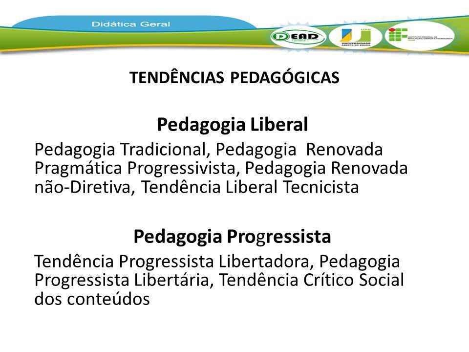 TENDÊNCIAS PEDAGÓGICAS Pedagogia Liberal Pedagogia Tradicional, Pedagogia Renovada Pragmática Progressivista, Pedagogia Renovada não-Diretiva, Tendênc