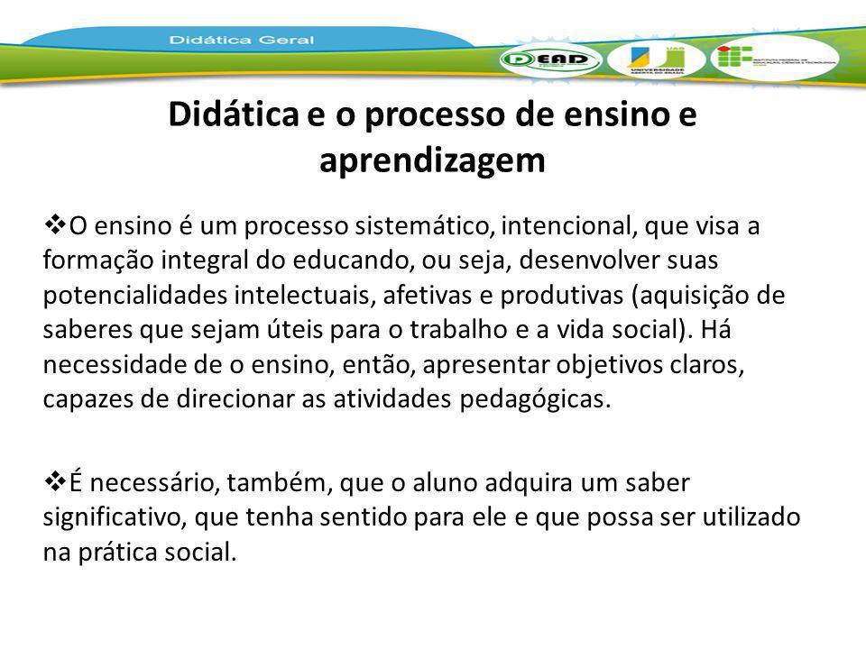 Didática e o processo de ensino e aprendizagem O ensino é um processo sistemático, intencional, que visa a formação integral do educando, ou seja, des