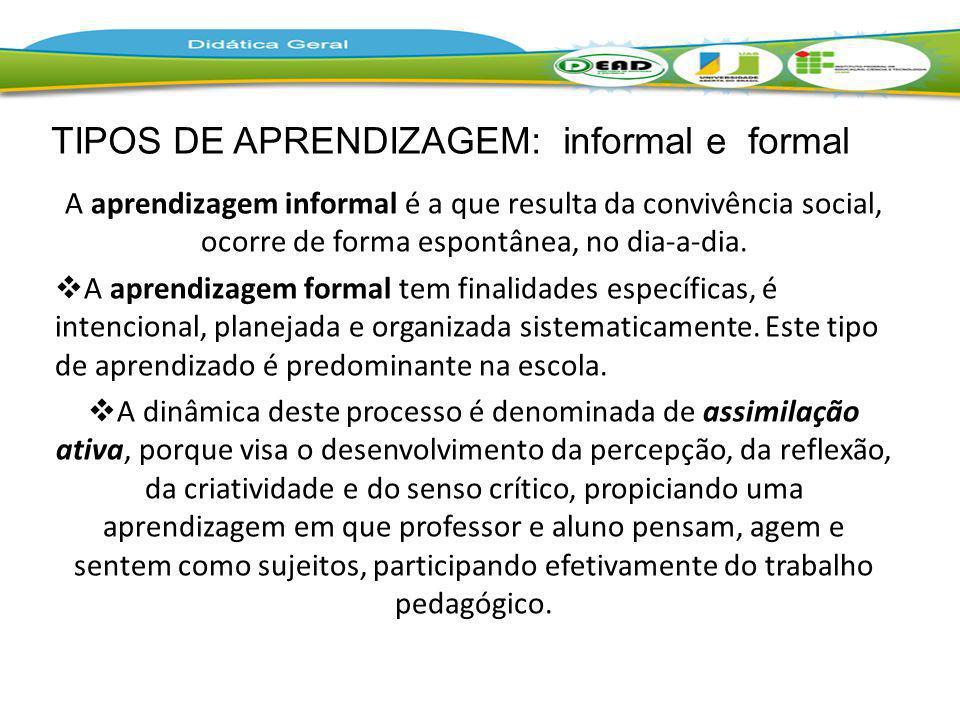 A aprendizagem informal é a que resulta da convivência social, ocorre de forma espontânea, no dia-a-dia. A aprendizagem formal tem finalidades específ