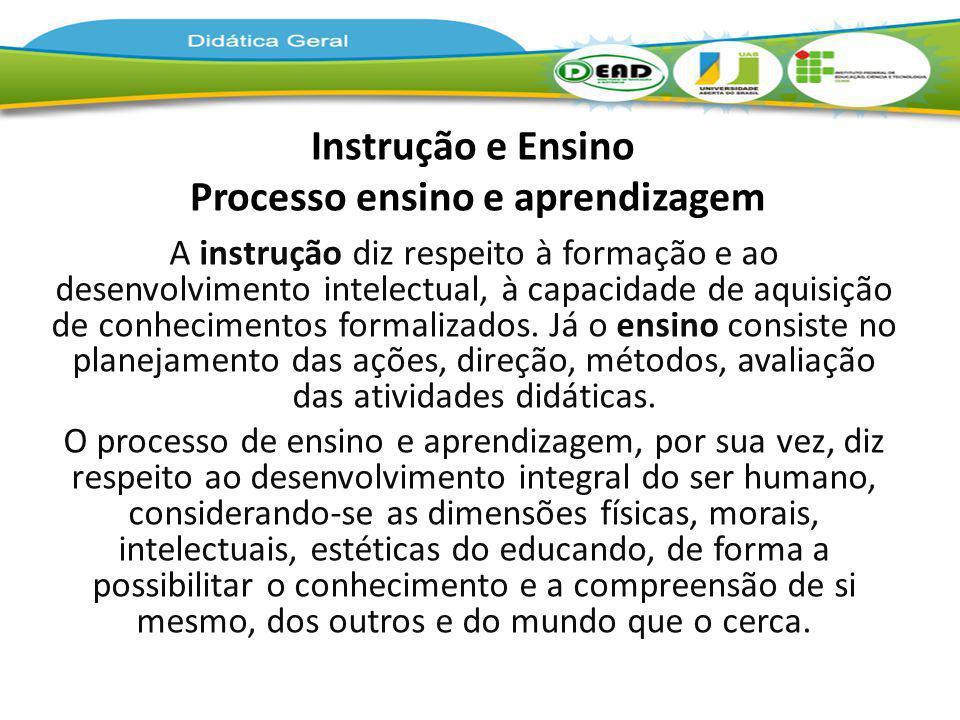 Instrução e Ensino Processo ensino e aprendizagem A instrução diz respeito à formação e ao desenvolvimento intelectual, à capacidade de aquisição de c