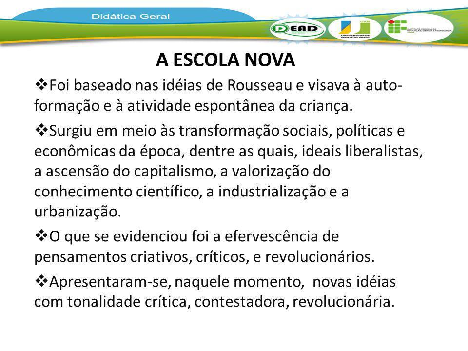 A ESCOLA NOVA Foi baseado nas idéias de Rousseau e visava à auto- formação e à atividade espontânea da criança. Surgiu em meio às transformação sociai