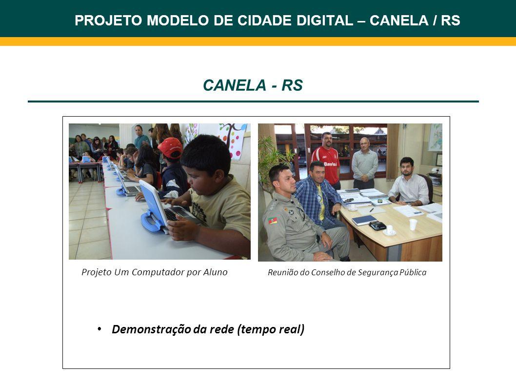 PROJETO MODELO DE CIDADE DIGITAL – CANELA / RS CANELA - RS Projeto Um Computador por Aluno Reunião do Conselho de Segurança Pública Demonstração da re