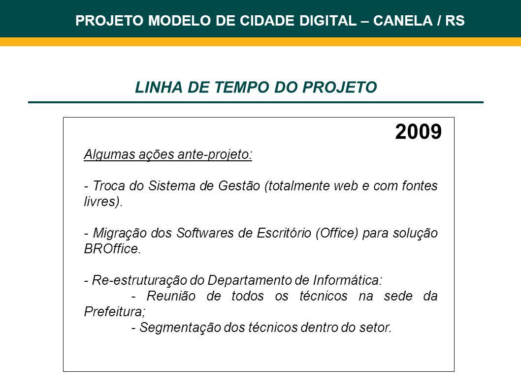 2009 Algumas ações ante-projeto: - Troca do Sistema de Gestão (totalmente web e com fontes livres). - Migração dos Softwares de Escritório (Office) pa