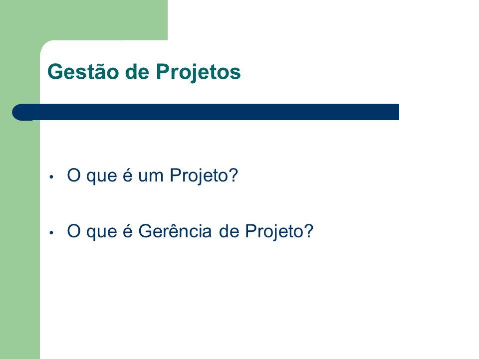 Gestão de Projetos O que é um Projeto? O que é Gerência de Projeto?