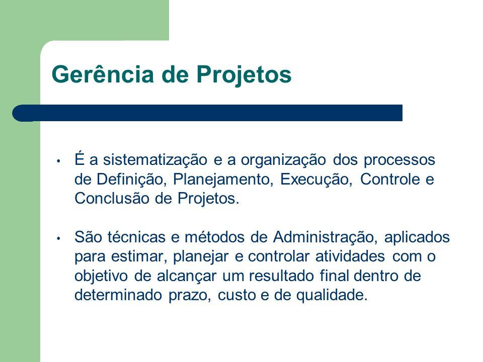 Gerência de Projetos É a sistematização e a organização dos processos de Definição, Planejamento, Execução, Controle e Conclusão de Projetos.
