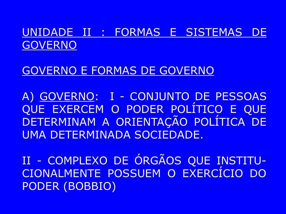 GOVERNO E FORMAS DE GOVERNO A) GOVERNO: I - CONJUNTO DE PESSOAS QUE EXERCEM O PODER POLÍTICO E QUE DETERMINAM A ORIENTAÇÃO POLÍTICA DE UMA DETERMINADA