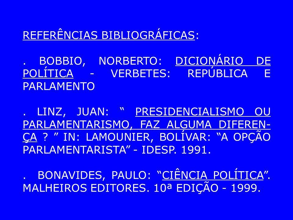 REFERÊNCIAS BIBLIOGRÁFICAS:. BOBBIO, NORBERTO: DICIONÁRIO DE POLÍTICA - VERBETES: REPÚBLICA E PARLAMENTO. LINZ, JUAN: PRESIDENCIALISMO OU PARLAMENTARI