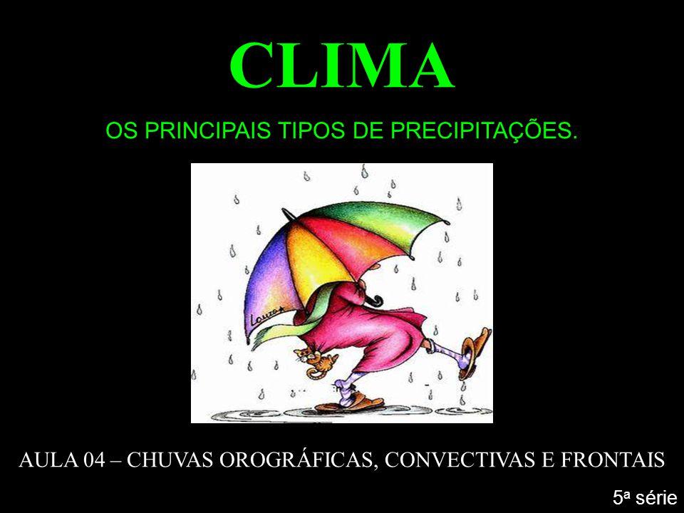 CLIMA OS PRINCIPAIS TIPOS DE PRECIPITAÇÕES. AULA 04 – CHUVAS OROGRÁFICAS, CONVECTIVAS E FRONTAIS 5 a série