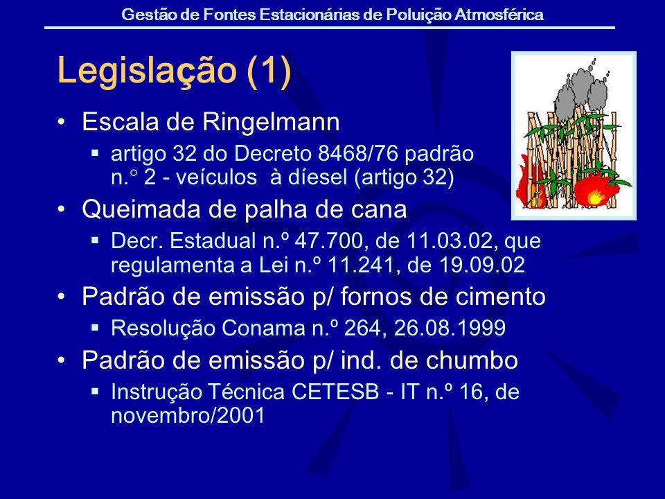 Gestão de Fontes Estacionárias de Poluição Atmosférica Legisla ç ão (1) Escala de Ringelmann artigo 32 do Decreto 8468/76 padrão n.° 2 - ve í culos à