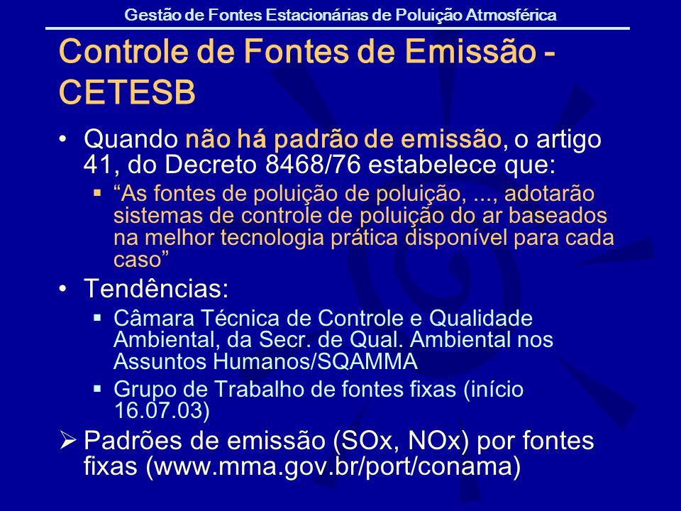 Gestão de Fontes Estacionárias de Poluição Atmosférica Controle de Fontes de Emissão - CETESB Quando não h á padrão de emissão, o artigo 41, do Decret