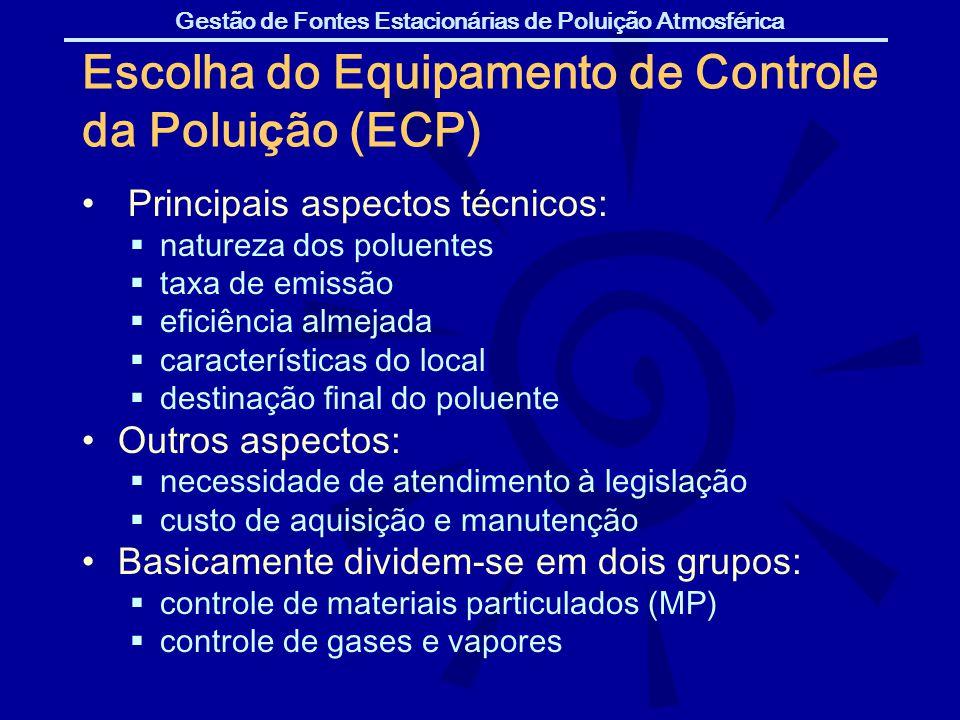 Gestão de Fontes Estacionárias de Poluição Atmosférica Escolha do Equipamento de Controle da Polui ç ão (ECP) Principais aspectos t é cnicos: natureza