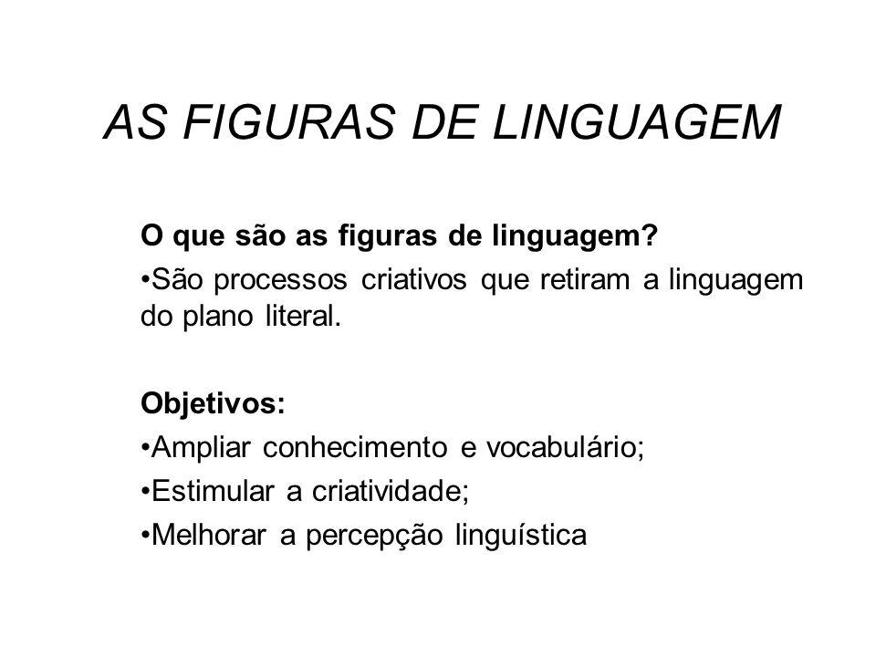 AS FIGURAS DE LINGUAGEM O que são as figuras de linguagem? São processos criativos que retiram a linguagem do plano literal. Objetivos: Ampliar conhec