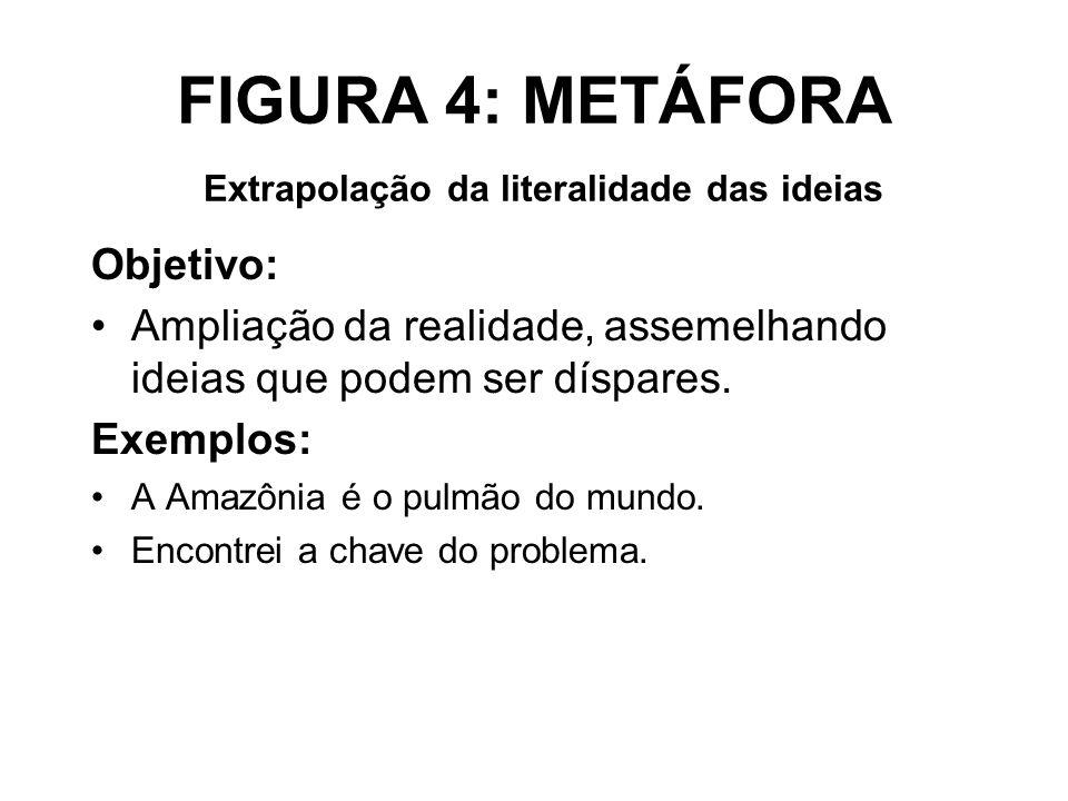 FIGURA 4: METÁFORA Extrapolação da literalidade das ideias Objetivo: Ampliação da realidade, assemelhando ideias que podem ser díspares. Exemplos: A A