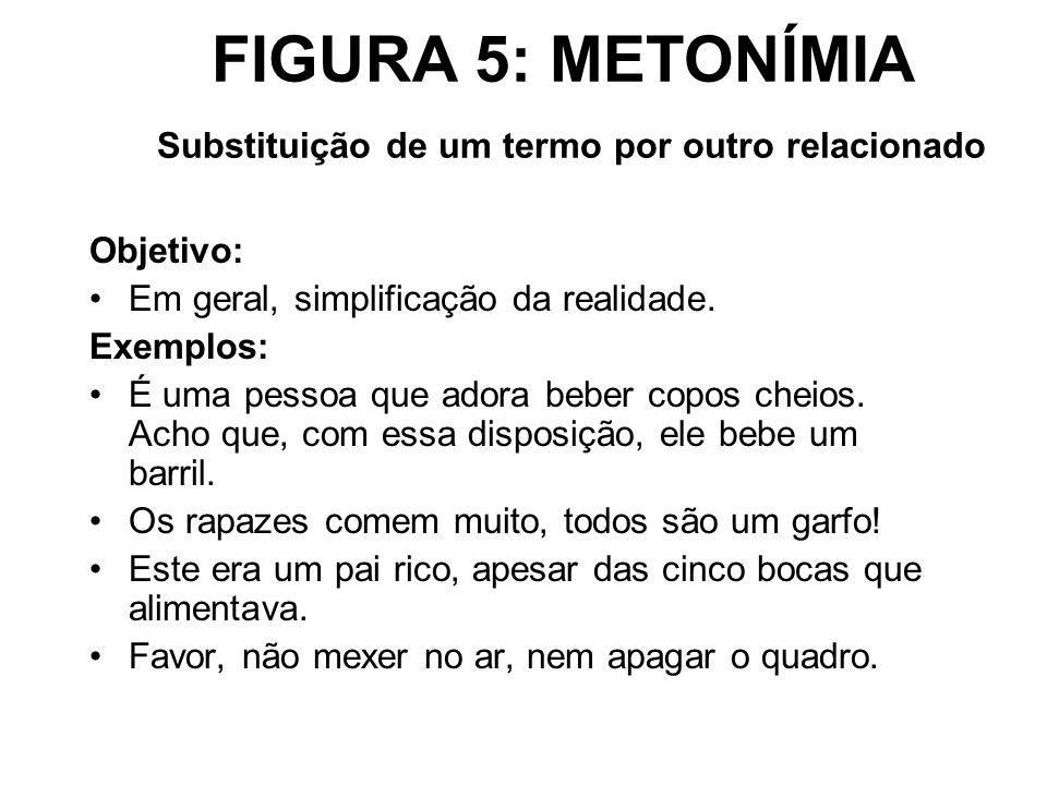 FIGURA 5: METONÍMIA Substituição de um termo por outro relacionado Objetivo: Em geral, simplificação da realidade. Exemplos: É uma pessoa que adora be