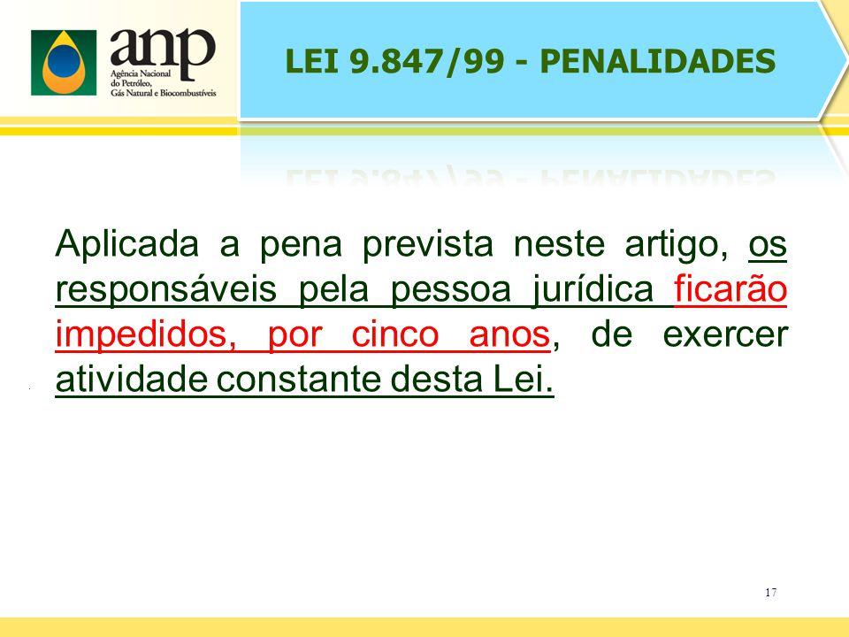 17 Aplicada a pena prevista neste artigo, os responsáveis pela pessoa jurídica ficarão impedidos, por cinco anos, de exercer atividade constante desta