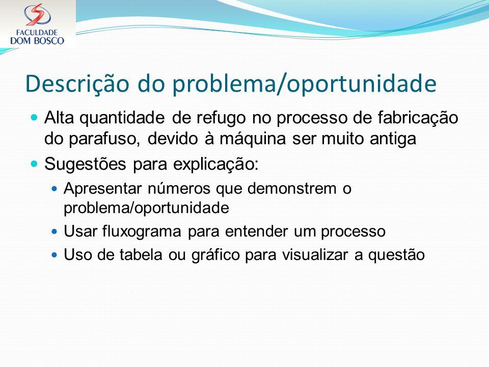 Descrição do problema/oportunidade Alta quantidade de refugo no processo de fabricação do parafuso, devido à máquina ser muito antiga Sugestões para e