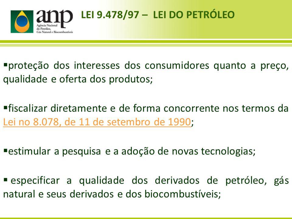LEI 9.478/97 – LEI DO PETRÓLEO proteção dos interesses dos consumidores quanto a preço, qualidade e oferta dos produtos; fiscalizar diretamente e de f