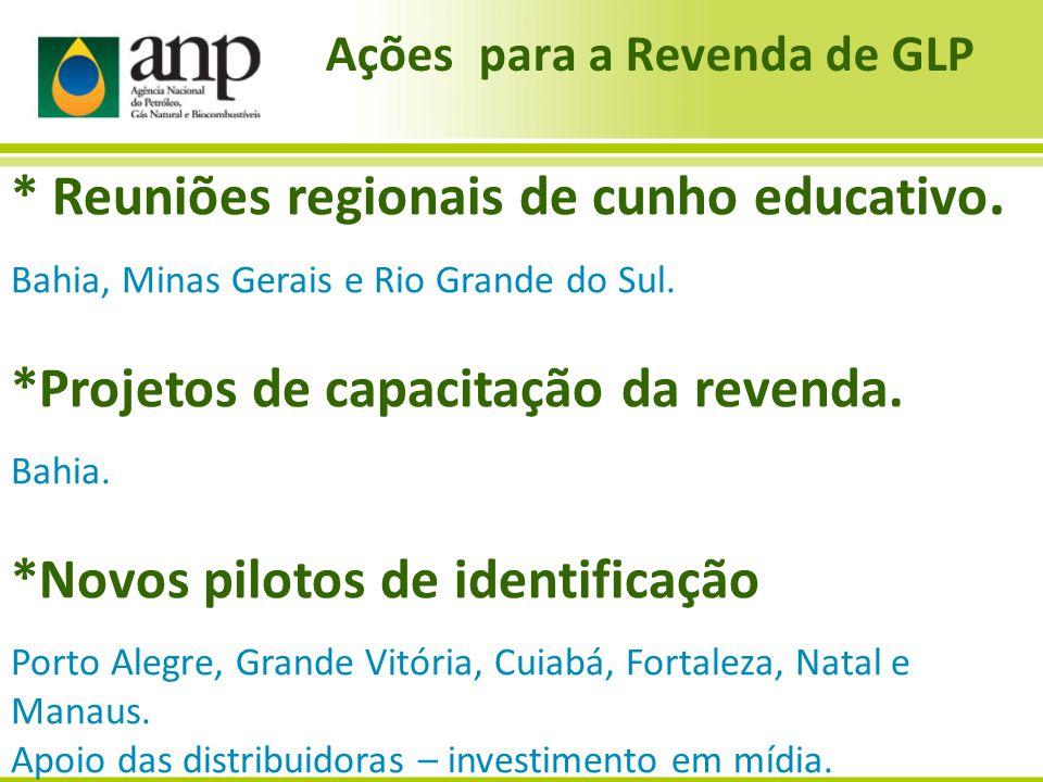 Ações para a Revenda de GLP * Reuniões regionais de cunho educativo. Bahia, Minas Gerais e Rio Grande do Sul. *Projetos de capacitação da revenda. Bah