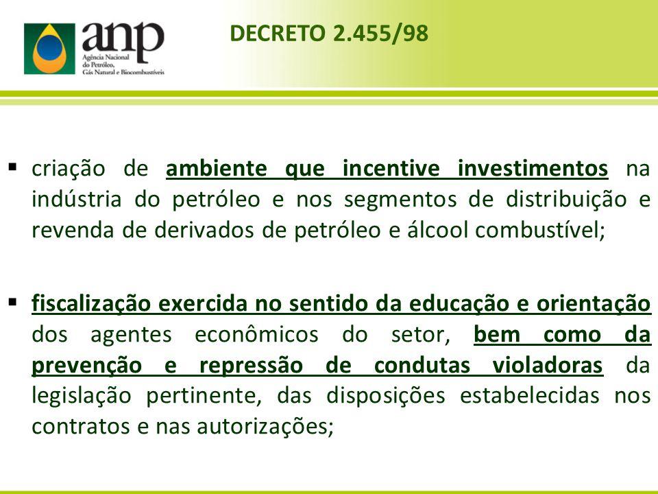 criação de ambiente que incentive investimentos na indústria do petróleo e nos segmentos de distribuição e revenda de derivados de petróleo e álcool c