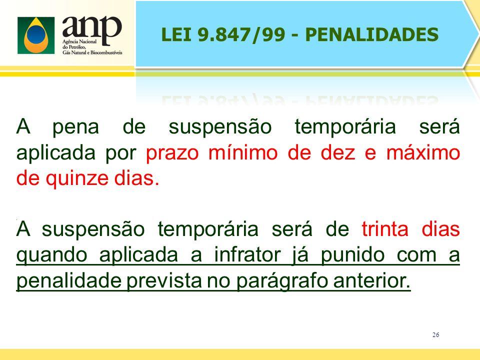 26. A pena de suspensão temporária será aplicada por prazo mínimo de dez e máximo de quinze dias.